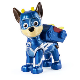 PAW Patrol, Mighty Pups Super PAWs, Figurine Chase avec sac à dos transformable