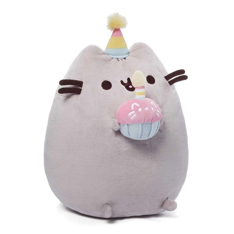 GUND Pusheen Snackables Birthday Cupcake Plush Stuffed Animal, Gray, 10.5 Inch