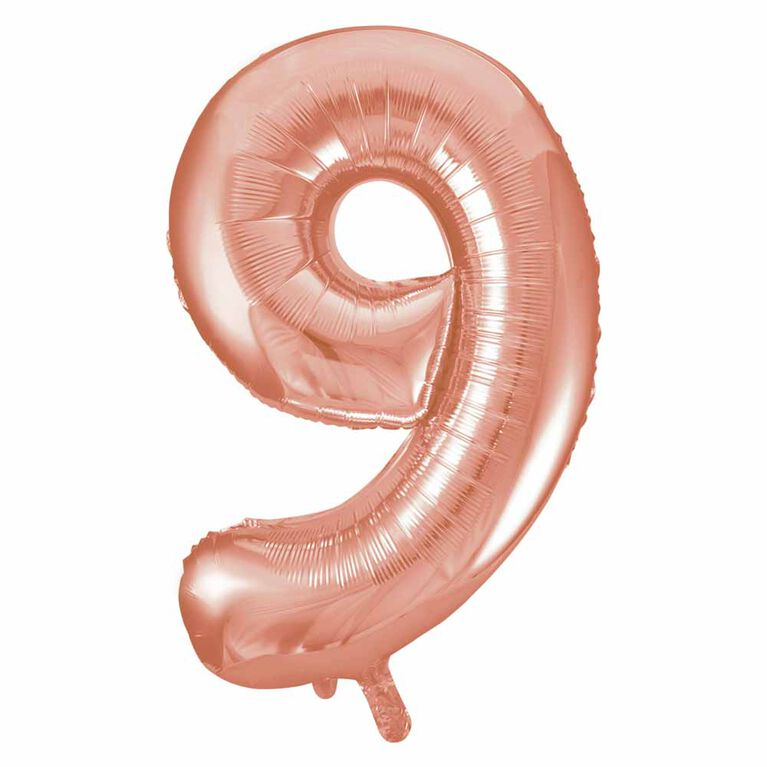 """Ballon en aluminium en forme de nombre en or rose 34"""" - 9"""