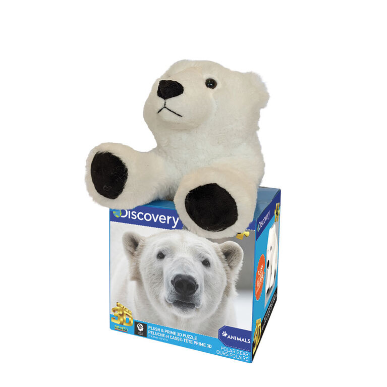 Prime 3D: Puzzle Découverte de l'ours polaire avec peluche - 48 pièces