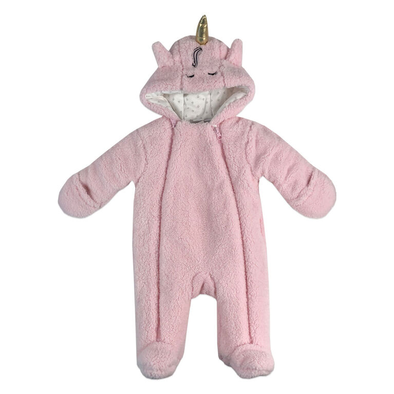 Rococo Sherpa Pramsuit - Pink, 0-3 Months