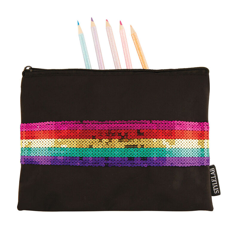 Rainbow Sequin Stripe Pouch