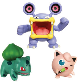 Pokémon Battle Figure Set 3-Pack - Jigglypuff & Bulbasaur vs Loudred