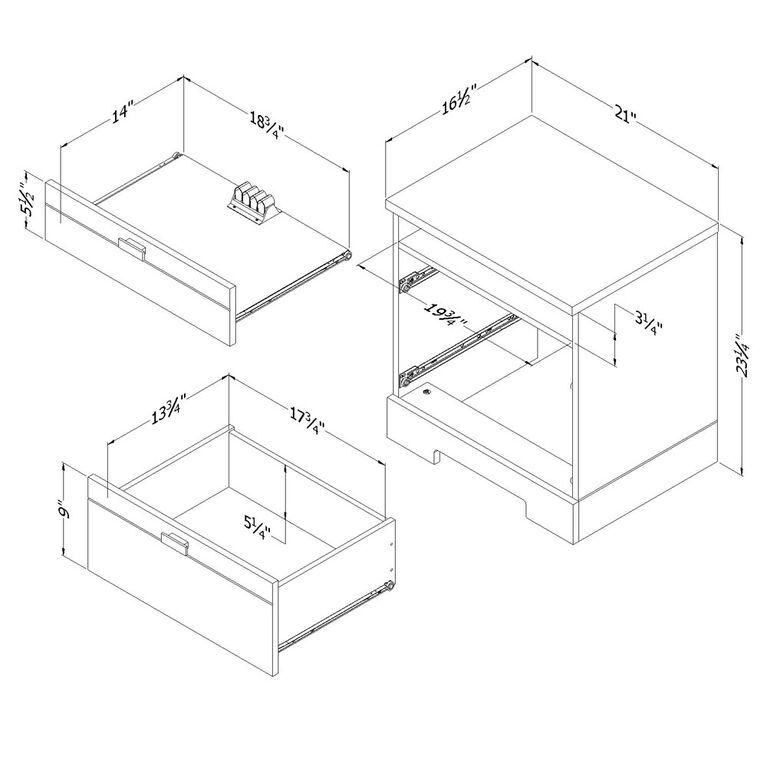 Reevo Table de chevet avec tiroirs et organisateur de fils- Blanc solide