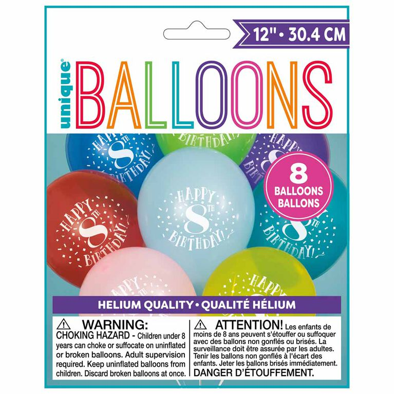 """8 Balloons 12 Po - """"Happy 8th Birthday"""" - Édition anglaise"""