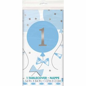"""BlueGingham 1stBday Table Cover 54""""x84"""""""