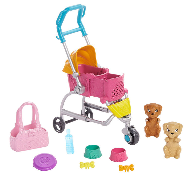 Barbie Stroll 'n Play Pups Playset with Barbie Doll, 2 Puppies and Pet Stroller