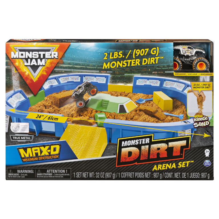 Monster Jam, Coffret Monster Dirt Arena avec Monster Dirt et monster truck Monster Jam exclusif en métal moulé à l'échelle 1:64