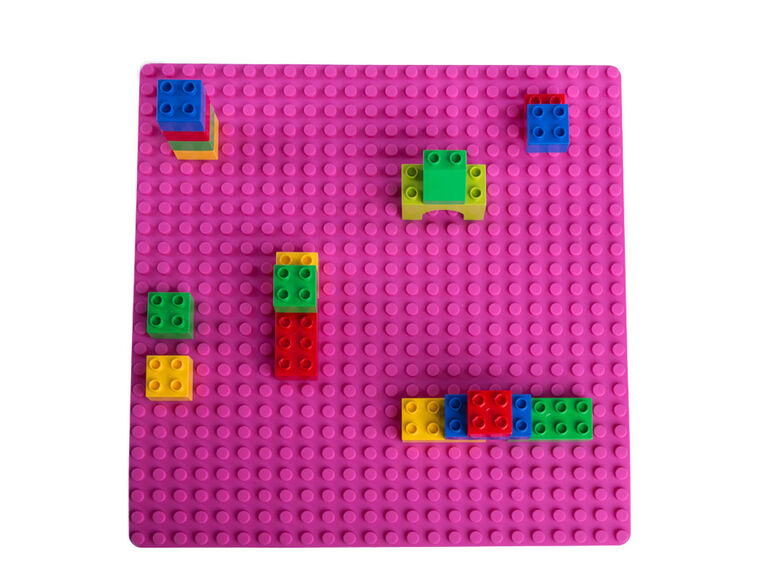 """Strictly Briks - Double Sided Silicone Mat - 15"""" x 15"""" - Compatible with Large and Small Pegs - Pink"""