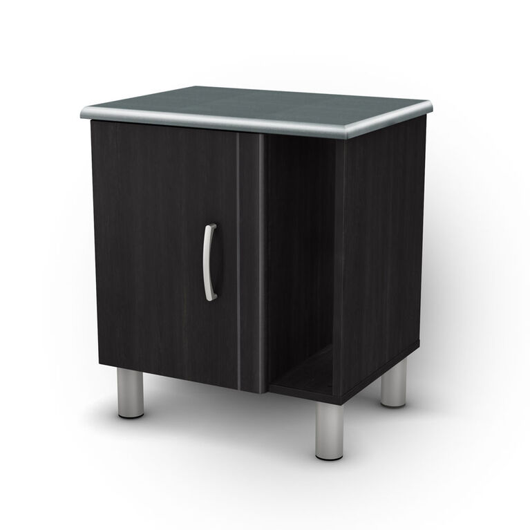 Cosmos Nightstand with Storage- Black Onyx and Charcoal