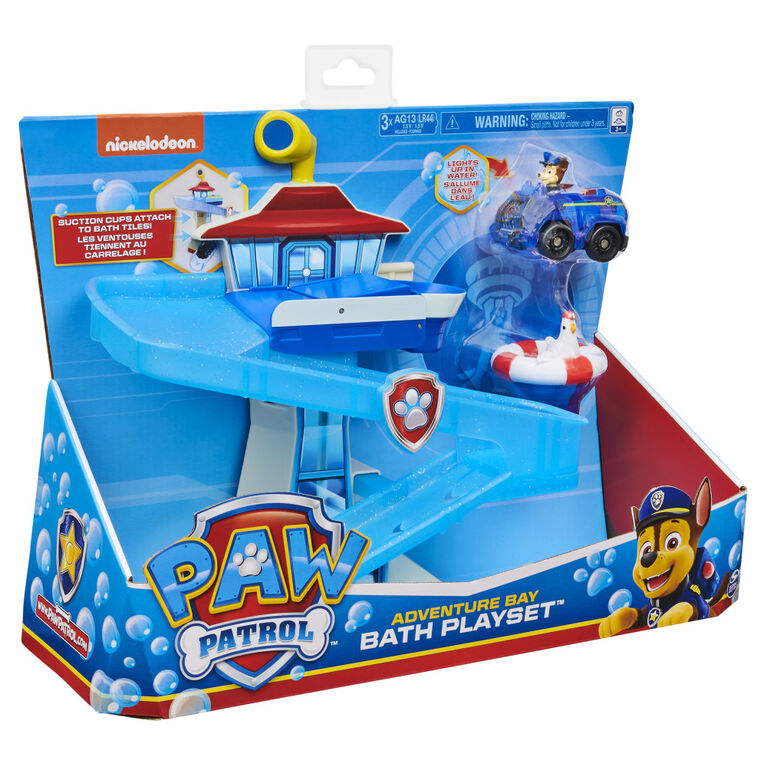 PAW Patrol, Adventure Bay Bath Playset with Light-up Chase Vehicle