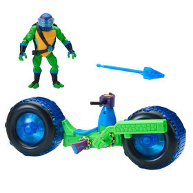 Rise of the Teenage Mutant Ninja Turtles - Shell Hog Motorcycle Vehicle with Leonardo Action Figure