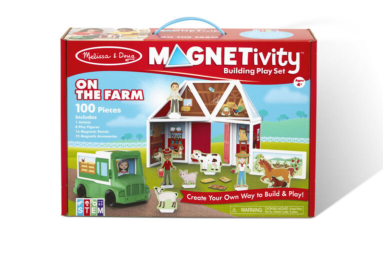 Melissa & Doug Magnetivity Magnetic Tiles Building Play Set - On the Farm with Tractor Vehicle