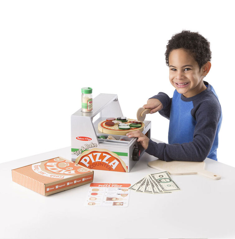 Melissa & Doug Top and Bake Wooden Pizza Counter Play Food Set - styles may vary
