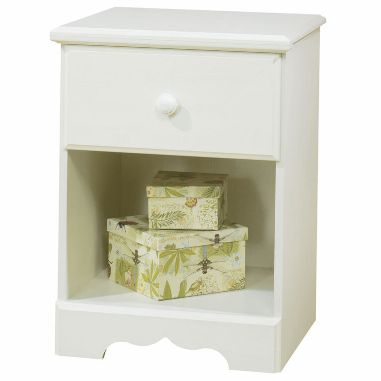 Summer Breeze 1-Drawer Nightstand - End Table with Storage- White Wash