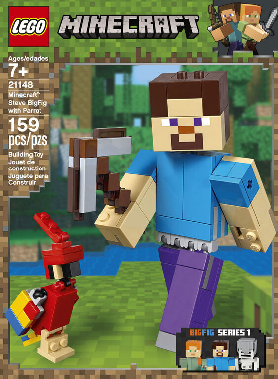 LEGO Minecraft Steve BigFig with Parrot 21148