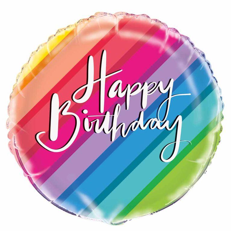"Ballon aluminium rond, 18 "" - Balloons & Rainbow Birthday - Édition anglaise"