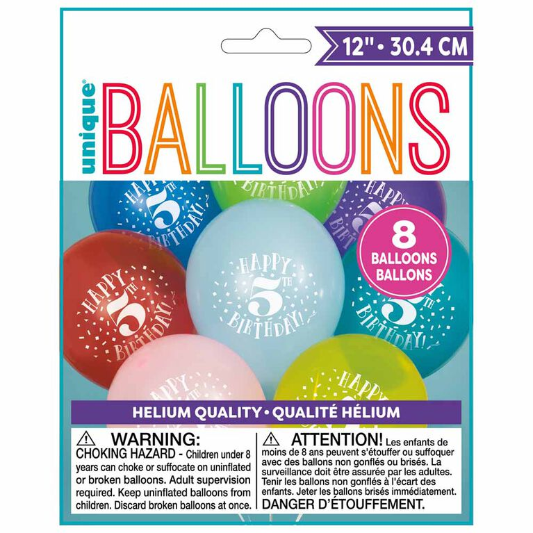 "8 Balloons 12 Po - ""Happy 5th Birthday"" - Édition anglaise"