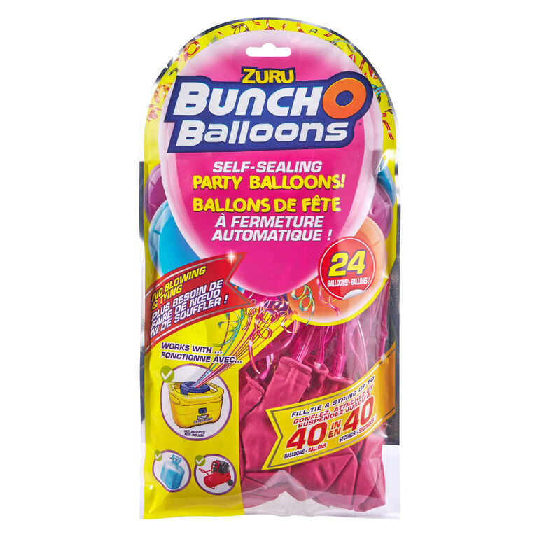 Bunch O Balloons 24 x 11 Inch Self-Sealing Latex Party Balloons - Pink