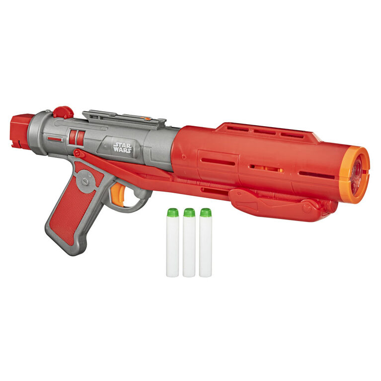 Nerf Star Wars Imperial Death Trooper Deluxe Dart Blaster, The Mandalorian, Blaster Sounds, Light Effects, 3 Glow-in-the-Dark Nerf Darts - R Exclusive