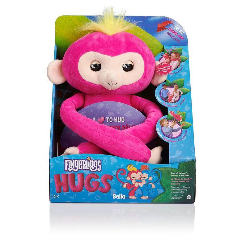 Fingerlings HUGS - Bella (Pink) - Advanced Interactive Plush Baby Monkey Pet