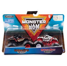 Monster Jam, Official Monster Mutt Rottweiler vs. Monster Mutt Dalmatian Die-Cast Monster Trucks, 1:64 Scale, 2 Pack
