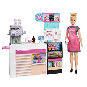 Barbie Coffee Shop with Blonde Curvy Doll & 20+ Realistic Play Pieces