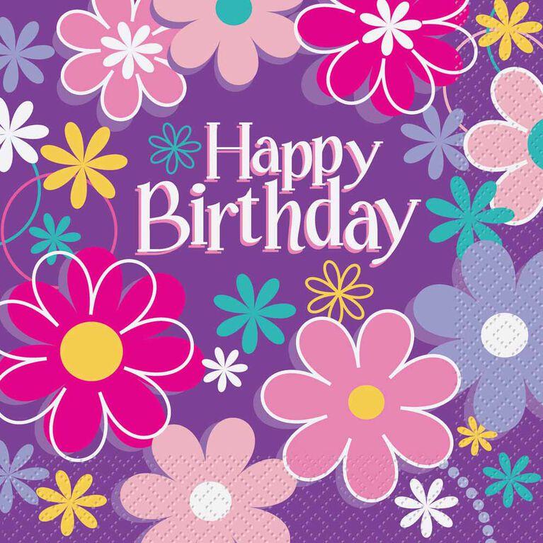 Birthday Blossoms Serviettes de Table, 16un - Édition anglaise