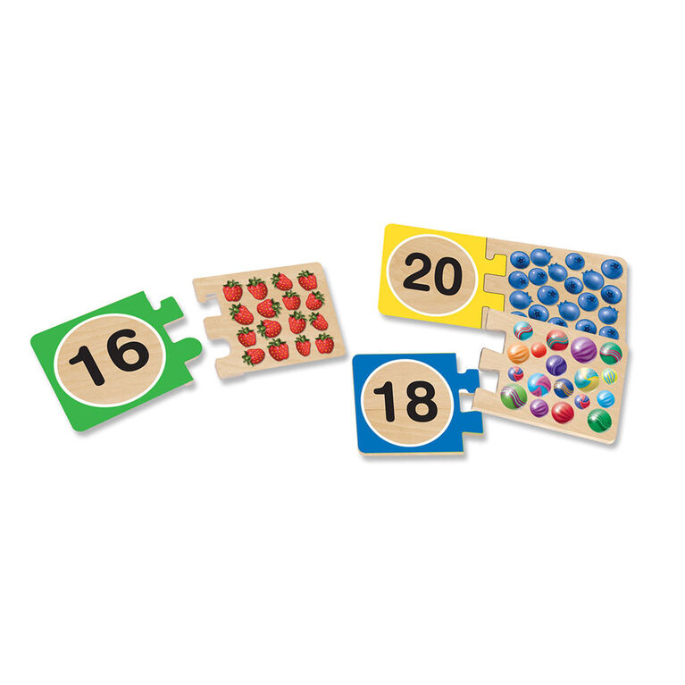 Melissa & Doug Self-Correcting Wooden Number Puzzles With Storage Box - 40 pieces - English Edition