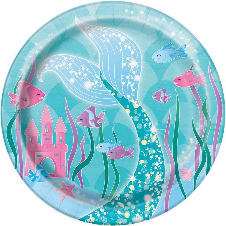 "Mermaid  7""  Plates, 8 pieces"