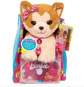 Barbie Vet Bag Set - Brown Beige Puppy with Pink Blue Backpack