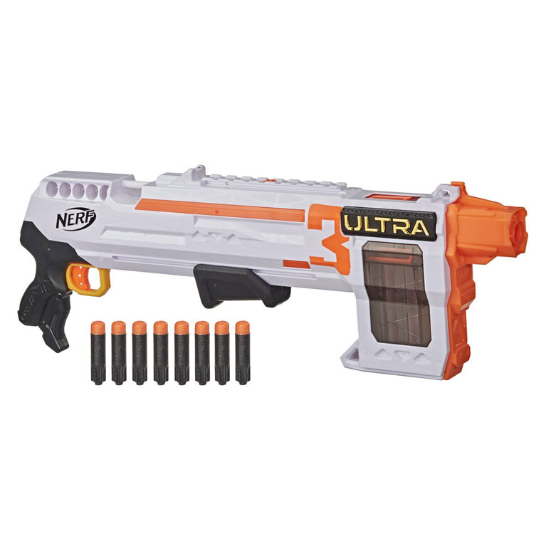 Nerf Ultra Three Blaster, Pump-Action, 8-Dart Internal Clip, 8 Nerf Ultra Darts, Compatible Only with Nerf Ultra Darts