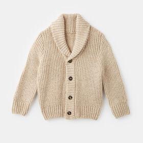 knit shawl cardigan , size 5-6y - White