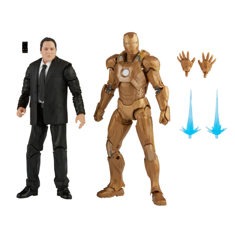 Hasbro Marvel Legends Series 6-inch Scale Action Figure Toy 2-Pack Happy Hogan and Iron Man Mark 21, Infinity Saga characters - R Exclusive
