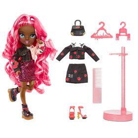 Rainbow High Daria Roselyn - Poupée-mannequin rose (rouge rosé) avec 2 tenues à agencer et associer et accessoires de poupée