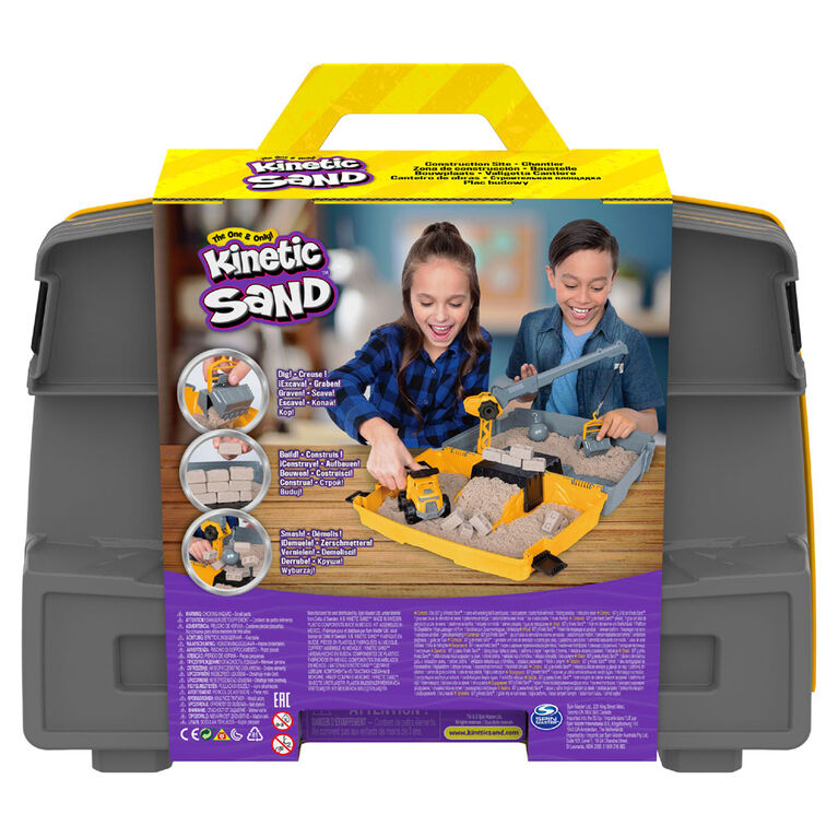 Kinetic Sand, Construction Site Folding Sandbox Playset with Vehicle and 2lbs Kinetic Sand