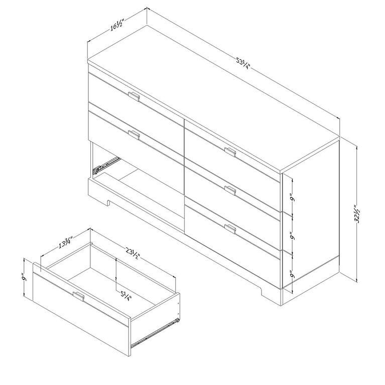 Reevo 6-Drawer Double Dresser- Pure White