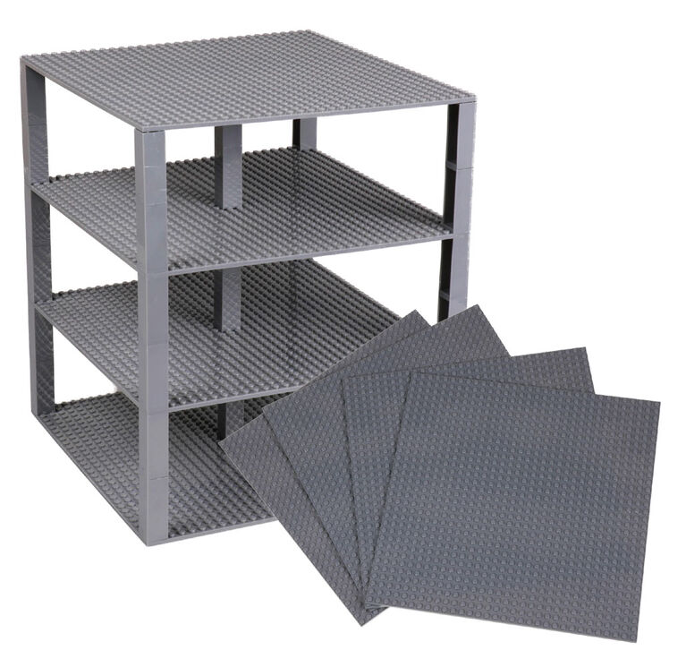"""Strictly Briks - Brik Tower - 10"""" x 10"""" - 32 x 32 pegs - 4 Baseplates & 30 Stackers - Gray"""
