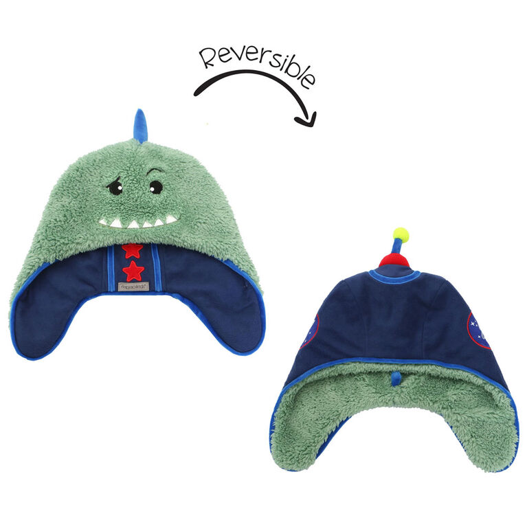 FlapJackKids - Baby, Toddler, Kids, Boys - Water Repellent Trapper Hat - Sherpa Lining - Dino/Astronaut - Large 4-6 years