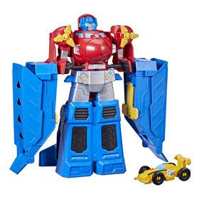 Transformers Optimus Prime Jumbo Jet Wing Racer Playset with 4.5-inch Bumblebee Racecar Action Figure