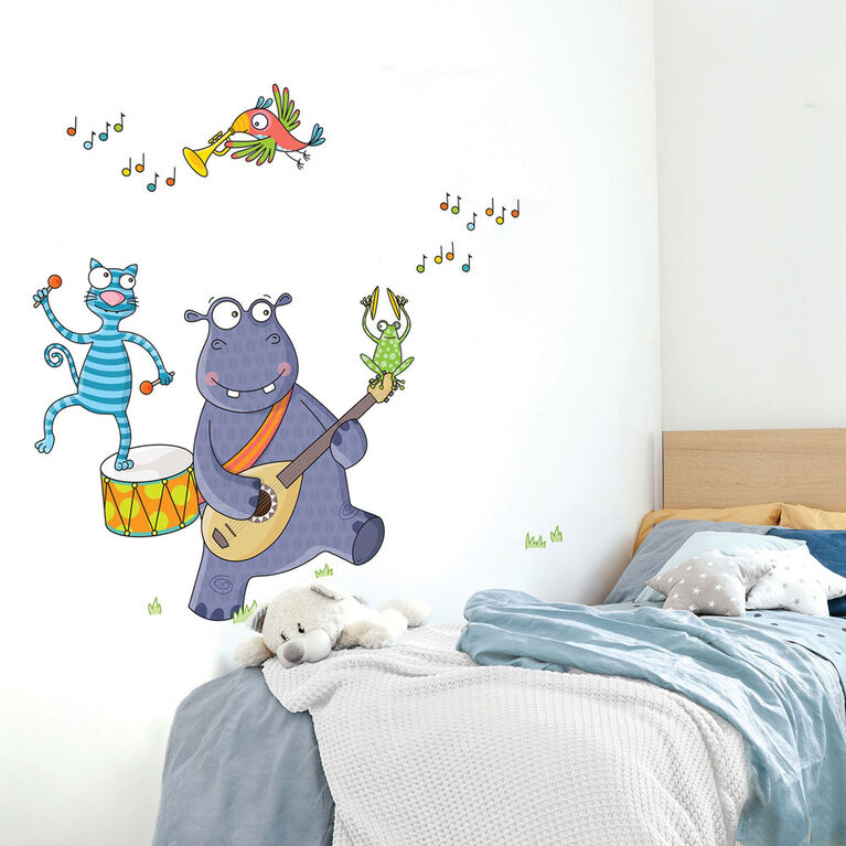Wall Stories Stickers muraux pour enfants - Découverte de la musique - Stickers muraux interactifs pour chambre d'enfant - Grand autocollant mural avec application de jeu et d'activité gratuite