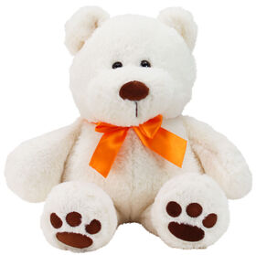 "Animal Adventure 13"" Seated Ultra-Soft Plush Bear with a Orange Ribbon"