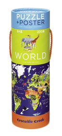 Crocodile Creek - World Map 200 piece Jigsaw Puzzle and Matching Poster - English Edition