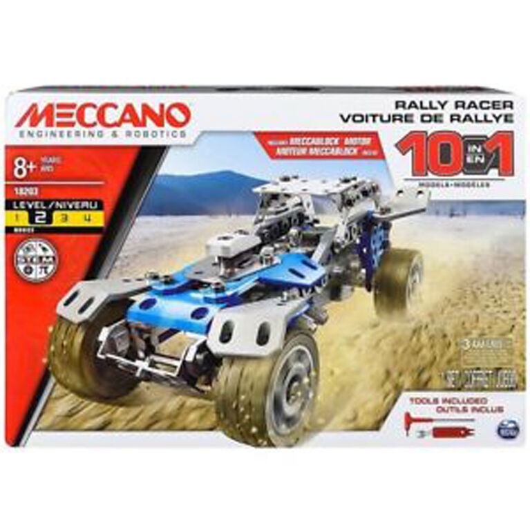 Meccano - 10 in 1 Rally Racer Model Vehicle Building Kit, STEM Construction Education Toy
