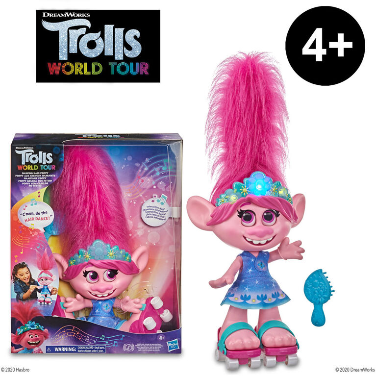 DreamWorks Trolls World Tour - Dancing Hair Poppy Interactive Talking Singing Doll with Moving Hair - English Edition