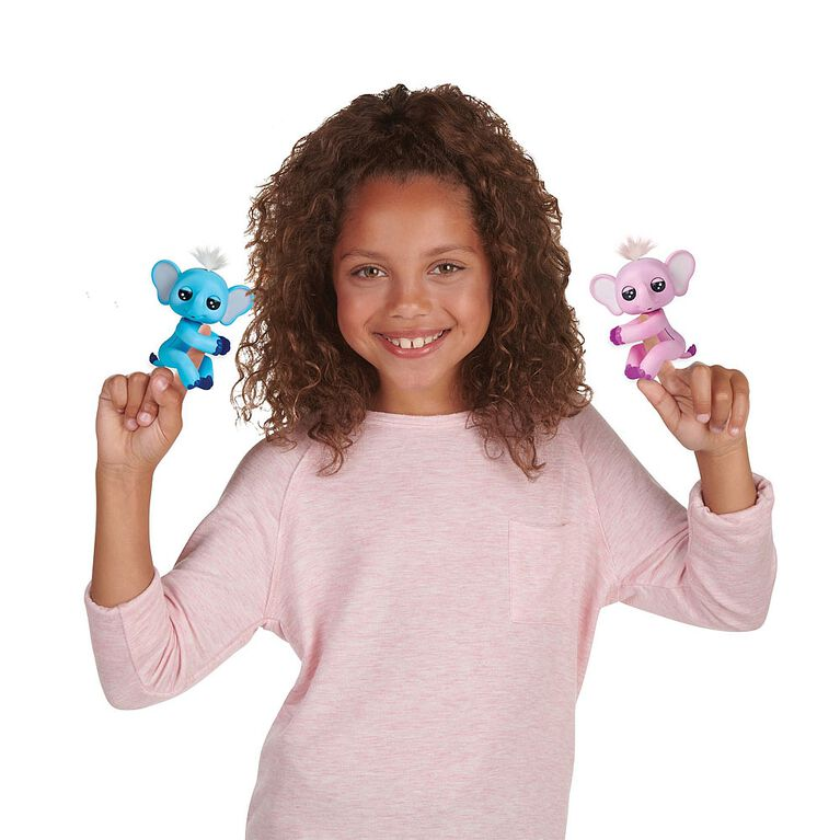 WowWee Fingerlings Baby Elephant - Gray (Blue) - Interactive Toy