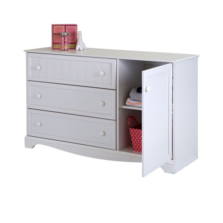 Savannah Storage Cabinet with 3 Drawers and 1 Door Dresser - Pure White