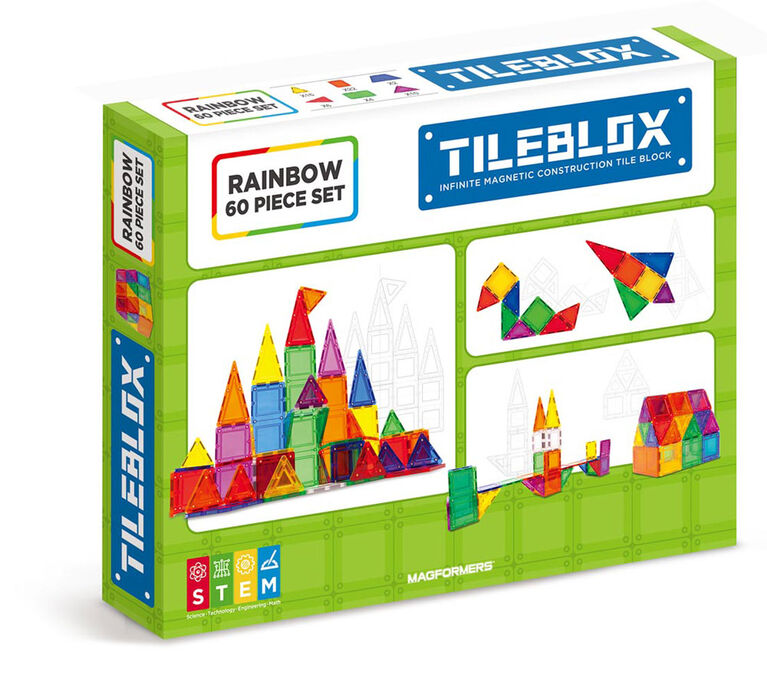 Magformers TileBlox Rainbow 60-Piece Set - English Edition