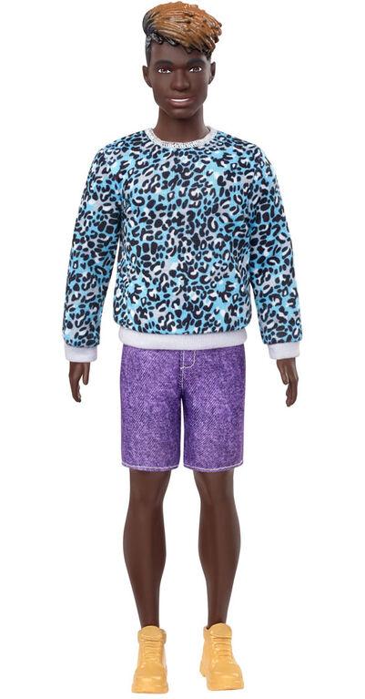 Barbie Ken Fashionistas Doll #153, Sculpted Dreadlocks & Animal-Print Sweatshirt