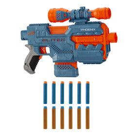Nerf Elite 2.0, blaster motorisé Phoenix CS-6, 12 fléchettes Nerf, chargeur 6 fléchettes, viseur, rails tactiques, points de fixation
